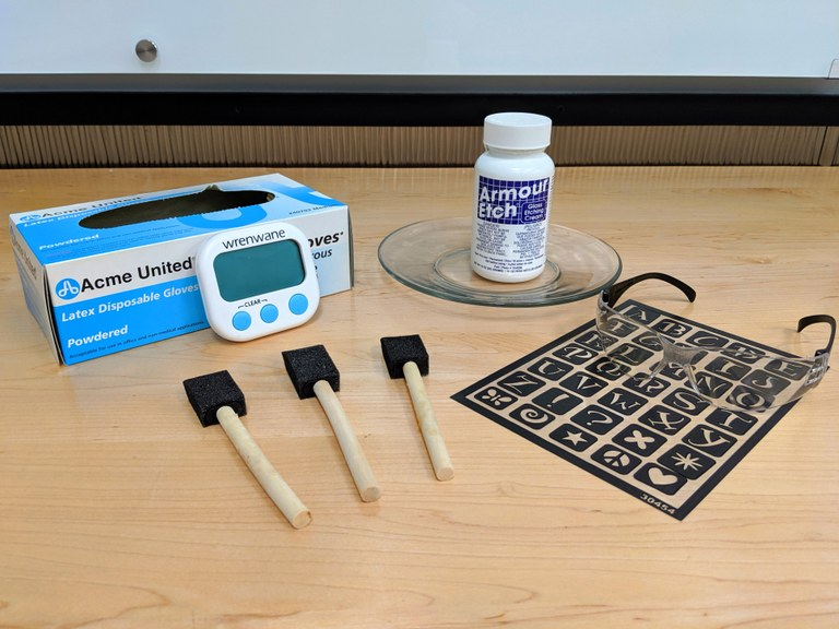 photos of materials needed for glass etching, including gloves, protective eyewear, and etching cream