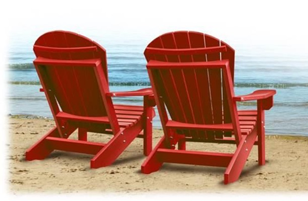 Red chairs on a beach